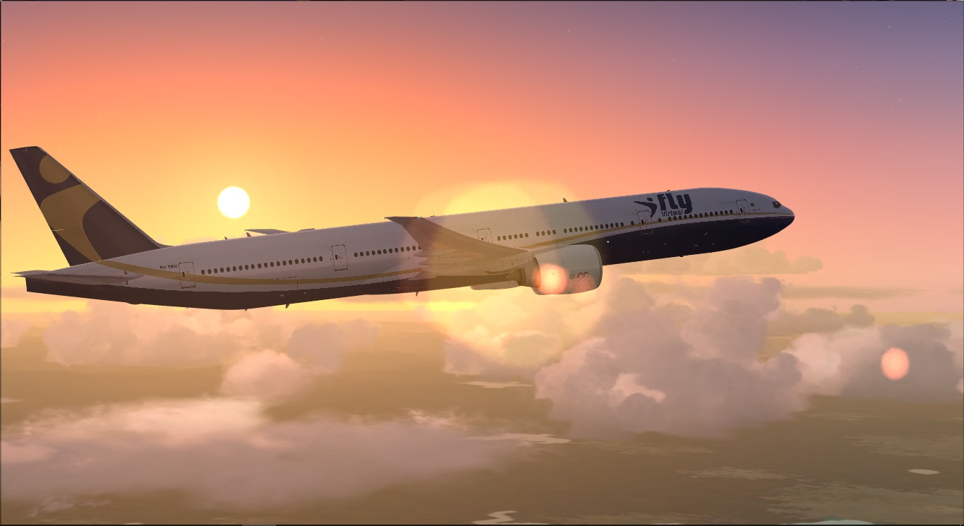 Sunset from YBBN to PHNL